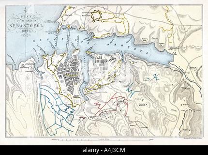 Map showing the Siege of Sevastopol, Crimean War, 1854-1855, (1893).Artist: Robert Walker - Stock Photo