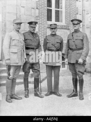 The four Allied commanders, Chateau Bombon, France, 1918. Artist: Unknown - Stock Photo