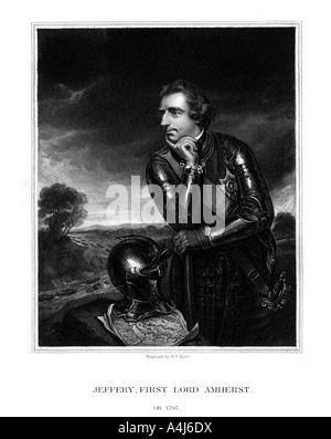 Jeffery Amherst, 1st Baron Amherst, Commander-in-Chief of the British Army, (1832).Artist: Henry Thomas Ryall - Stock Photo