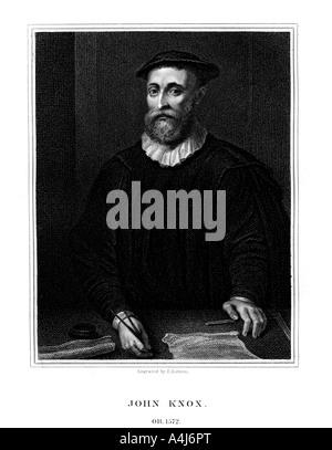 John Knox, Scottish religious reformer, (1825).Artist: E Scriven - Stock Photo