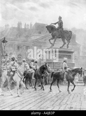 Bengal Mounted Lancers passing the statue of Joan of Arc France 1914 1926  - Stock Photo
