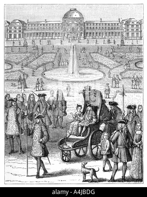 Louis XV at the Tuileries, Paris, 18th century, (1885). Artist: Bonnardot - Stock Photo