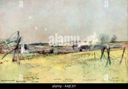 'The Church of Ablain and Souchez', Artois, France, 19 June 1915, (1926).Artist: Francois Flameng - Stock Photo