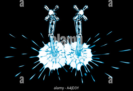 Two taps pouring cold water. Picture by Patrick Steel patricksteel - Stock Photo