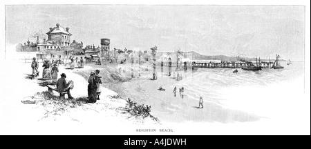 Brighton Beach, Melbourne, Victoria, Australia, 1886.Artist: Albert Henry Fullwood - Stock Photo