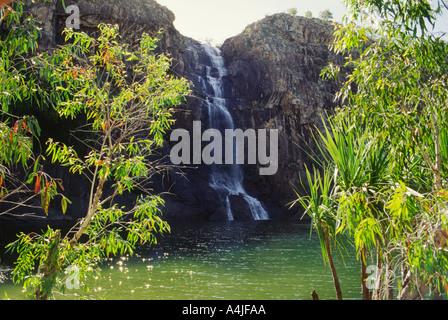 Gunlom Falls and plunge pool Kakadu NP Australia Waterfall Creek in remote south of park - Stock Photo