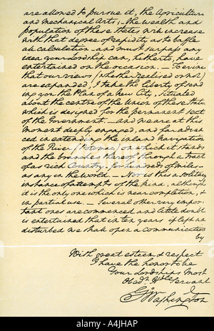 Letter from George Washington to the Earl of Buchan, Philadelphia, 22nd April 1793. Artist: George Washington - Stock Photo