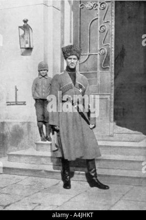 Grand Duke Michael Alexandrovich of Russia in cossack uniform, 1917. Artist: Unknown - Stock Photo