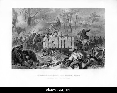 Charge of General Smith's Division, Capture of Fort Donelson, Tennessee, 1862-1867.Artist: Felix Octavius Carr Darley - Stock Photo