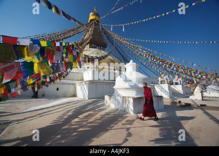 Tibetan new year at Bodhnath stupa. Also known as boudhanath - Stock Photo