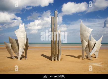 Les Braves, World War 2,  D Day landings sculpture at Omaha Beach, Normandy, France - Stock Photo
