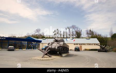Omaha Beach memorial museum at Saint Laurent sur mer Normandy France - Stock Photo