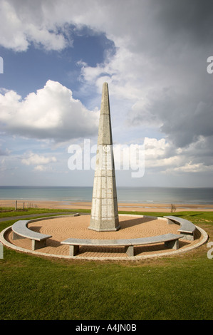 US Army 1st Infantry monument on Omaha beach at Colleville sur mer, Normandy, France - Stock Photo