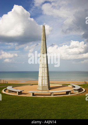 US Army 1st Infantry monument at Colleville sur mer Normandy France - Stock Photo