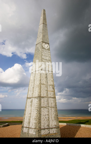 US Army 1st Infantry monument overlooking Omaha beach at Colleville sur mer, Normandy, France - Stock Photo