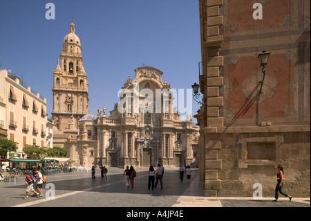 Catedral de Santa Maria and Plaza del Cardenal Belluga in Murcia City, Spain. - Stock Photo