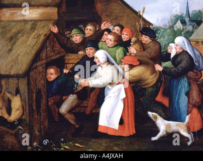 'The Drunkard Pushed into the Pigsty', 1564-1638. Artist: Pieter Brueghel the Younger - Stock Photo