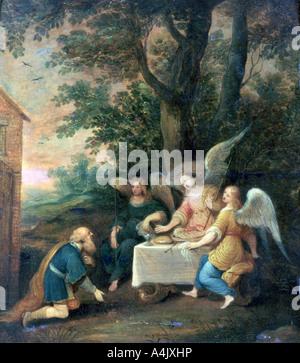 'Abraham Kneels in front of Three Angels', 1581-1642. Artist: Frans Francken II - Stock Photo