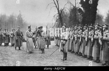 Emperor Karl I of Austria visiting Kaiser Wilhelm II at Army headquarters, World War I, 1917. Artist: Unknown - Stock Photo