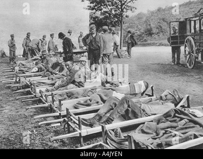 Austrian soldiers on the way to hospital, Battle of the Isonzo, World War I, 1915. Artist: Unknown - Stock Photo