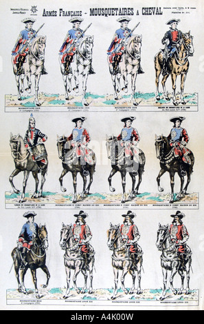 French Army; mounted musketeers, 17th century (19th century). Artist: Unknown - Stock Photo