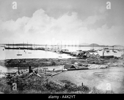 The port Auckland New Zealand c1870 1880  - Stock Photo