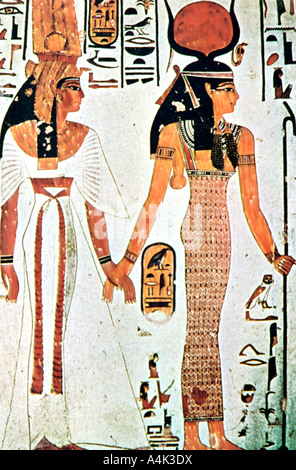 Nefertari and isis ancient egyptian wall painting from a for Ancient egyptian tomb decoration