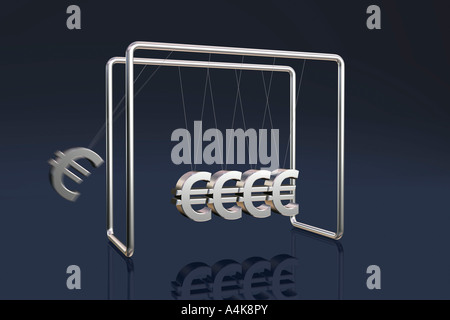 Newton's cradle with euro symbols on a dark reflective background - Stock Photo