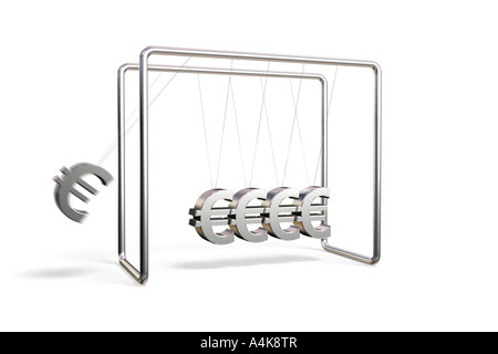 Newton's cradle with euro symbols isolated on a white background - Stock Photo