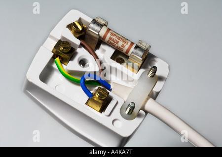 Closeup 13 Amp British mains 3 three pin plug top showing wiring - Stock Photo