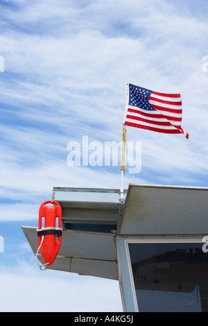 Lifeguard Tower on Beach in Santa Monica, Los Angeles California, USA - Stock Photo