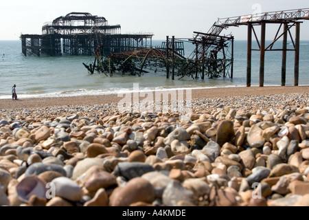 Derelict West pier Brighton Sussex England UK - Stock Photo