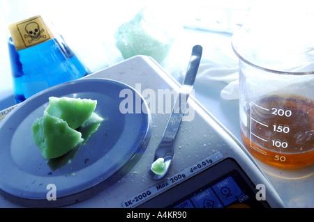 a piece of alien moon rock in a laboratory - Stock Photo
