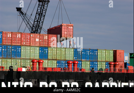 Cargo ship is loaded Baltimore, Maryland - Stock Photo
