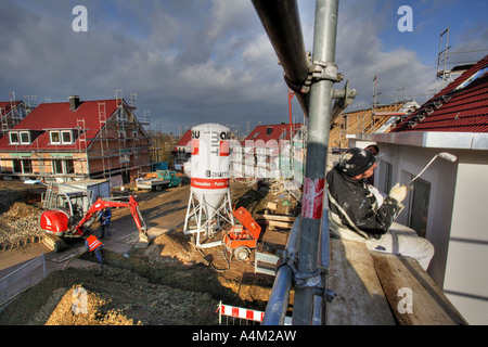 DEU Germany Essen building of a house construction site of private houses - Stock Photo