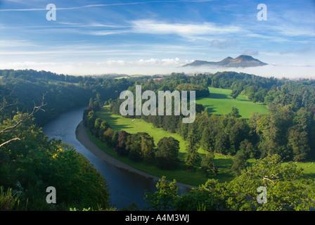 Mist on the Eildon Hills, Scotland UK. Late summer. - Stock Photo