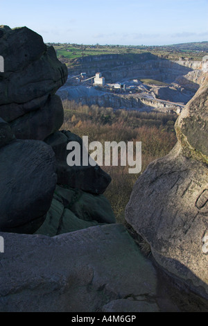 Middlepeak limestone quarry from Black Rock, Wirksworth, Peak District, Derbyshire, England - Stock Photo