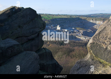 Middlepeak limestone quarry from Black Rock, Wirksworth, Peak District, Derbyshire, England - Stock Photo