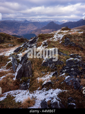 The Mamores and Pap of Glencoe viewed from Sgorr a Choise - Stock Photo