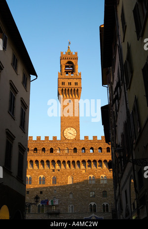 Palazzo Vecchio, Florence, Italy caught in late afternoon sunlight - Stock Photo