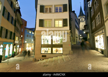 The narrow cobblestone streets of the old town in Zürich Switzerland. - Stock Photo