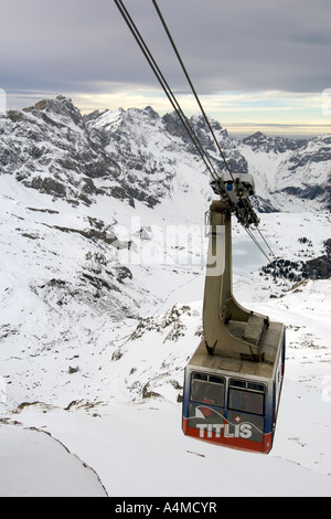 View of the Alps from the cable car on Mount Titlis in Switzerland. - Stock Photo