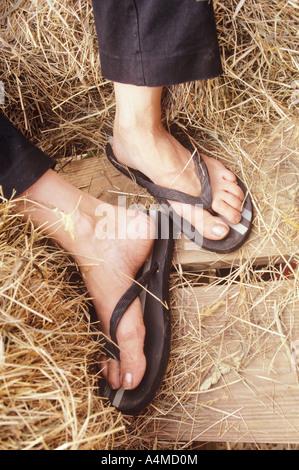 Woman's feet in flip-flops