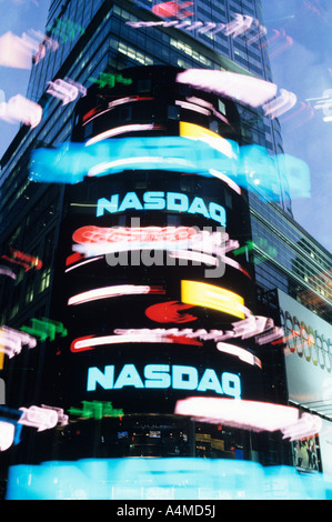 NASDAQ SIGN IN TIMES SQUARE, MOTION EFFECT - Stock Photo
