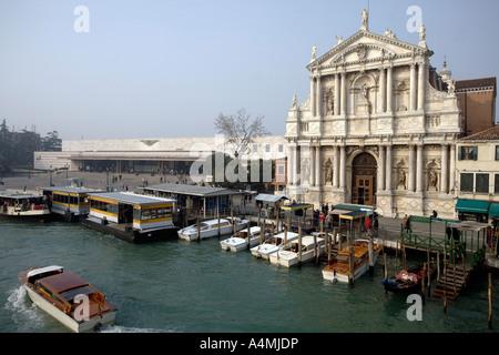 Chiesa dei Scalzi and Stazione di Santa Lucia. Grand Canal, Venice, Italy - Stock Photo