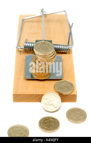 Mousetrap with UK Currency indicating money trap