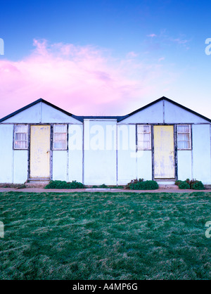 two beach huts on holiday park on the isle of wight england uk - Stock Photo