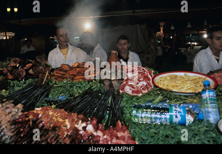 Marrakech Morocco Foodstalls at night on Djemaa El Fna square - Stock Photo