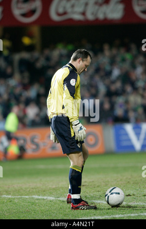 Northern Ireland and Birmingham City goalkeeper Maik Taylor prepares to take a goal kick in front of crowd during - Stock Photo