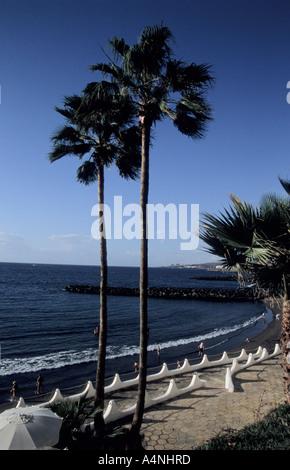 Beach Playa de las Americas in Tenerife Canary Islands Spain - Stock Photo